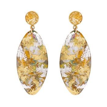 Silver Confetti Oblong Earrings