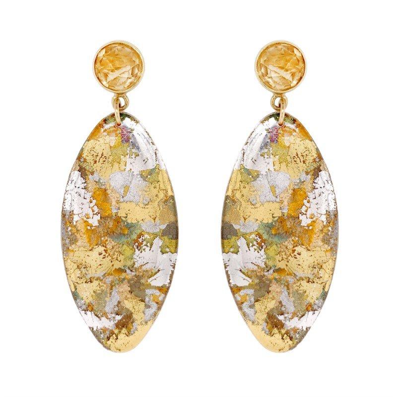Evocateur Silver Confetti Oblong Earrings