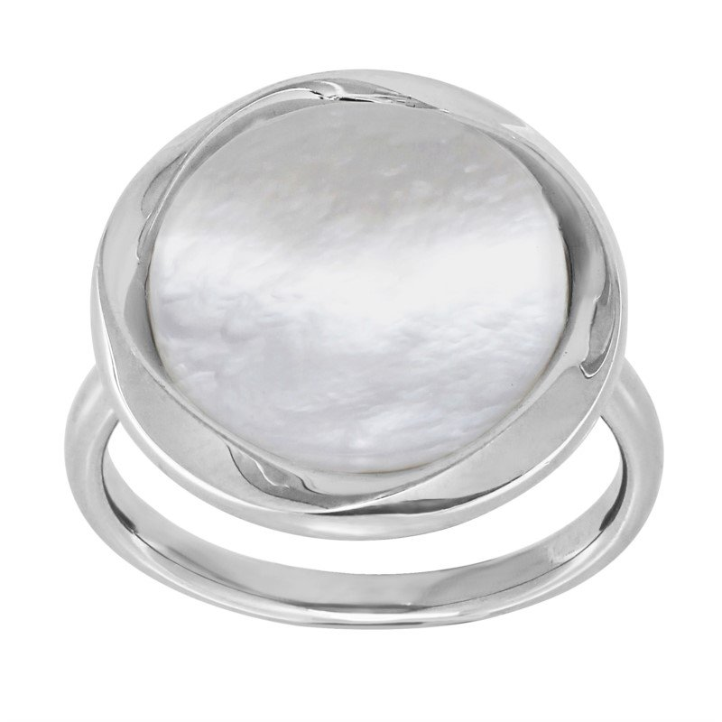Lasker Pearl Fashion Bold Circle Mother Of Pearl Ring
