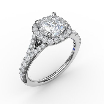 Split Shank Square Shaped Halo Engagement Ring Mounting