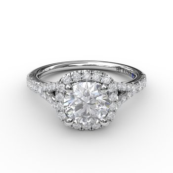 Split Shank Square Shaped Halo Engagement Ring Mounting