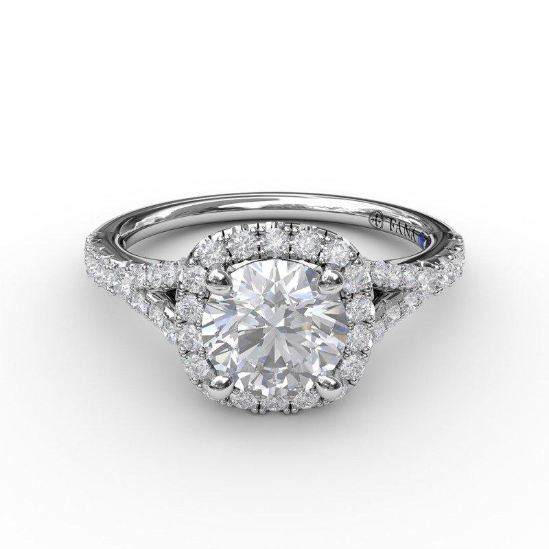 Fana Split Shank Square Shaped Halo Engagement Ring Mounting