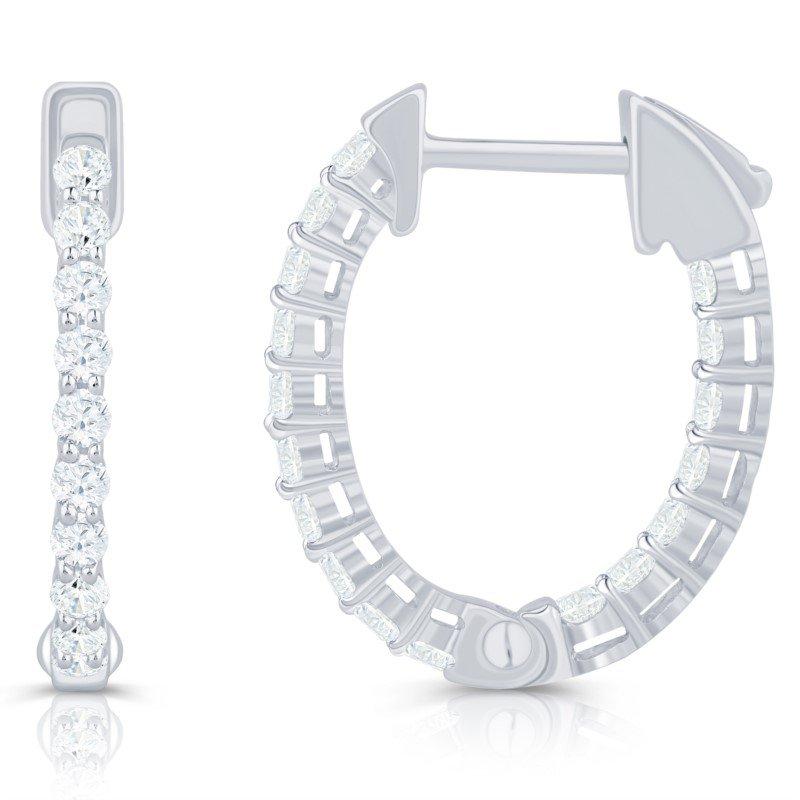 Lasker Diamond Fashion Oval Inside / Outside Hoop Earrings