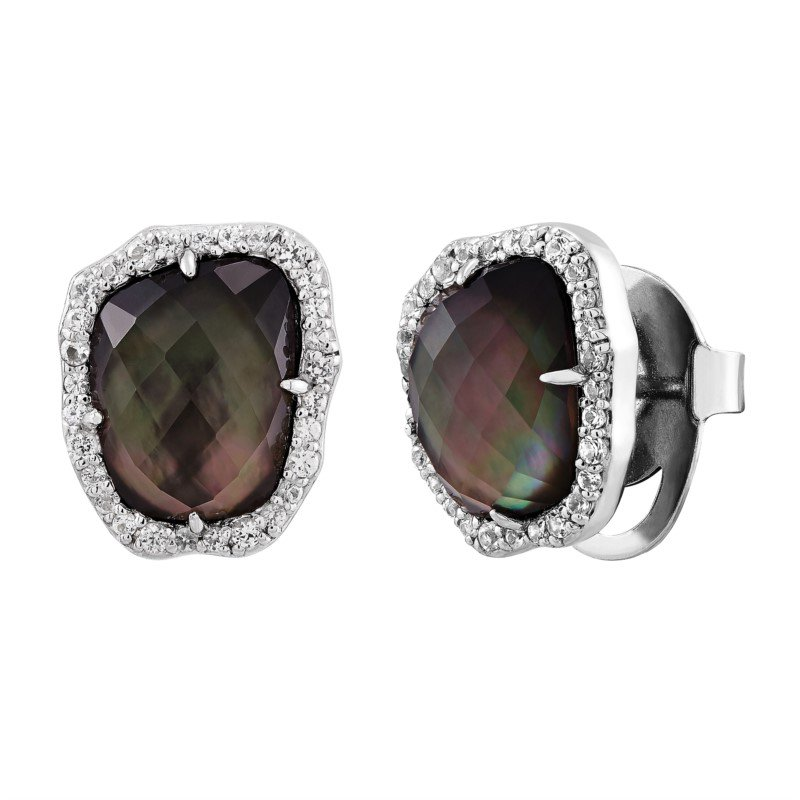 Lasker Pearl Fashion Black Mother of Pearl with White Sapphire Halo Earrings