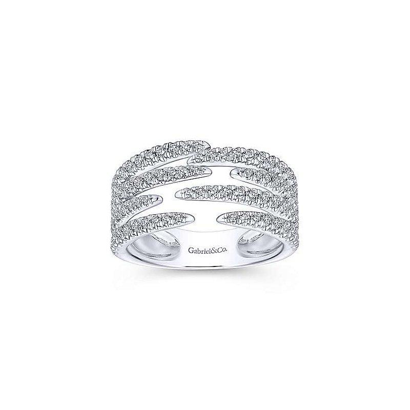 Gabriel Fashion 14K White Gold Open Wide Band Pavé Diamond Ring