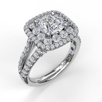 Double Halo Engagement Ring Mounting with Split Shank