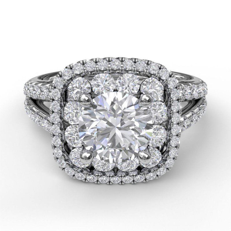 Fana Double Halo Engagement Ring Mounting with Split Shank