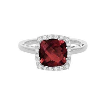 Red Garnet Ring with Diamond Halo