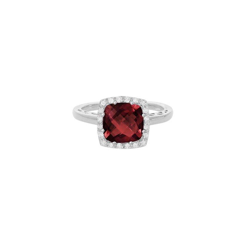 Lasker Gemstone Red Garnet Ring with Diamond Halo