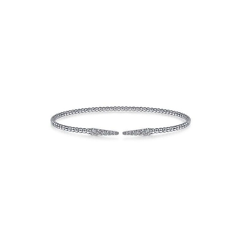 Gabriel Fashion Split 14K White Gold Bujukan Bead Cuff Bracelet with Diamond Pavé Spikes