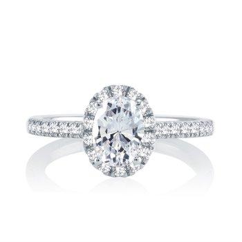 Classic Oval Halo Ring - 1ct Center Diamond