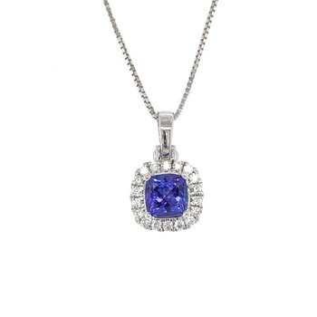 Cushion Halo Tanzanite Pendant