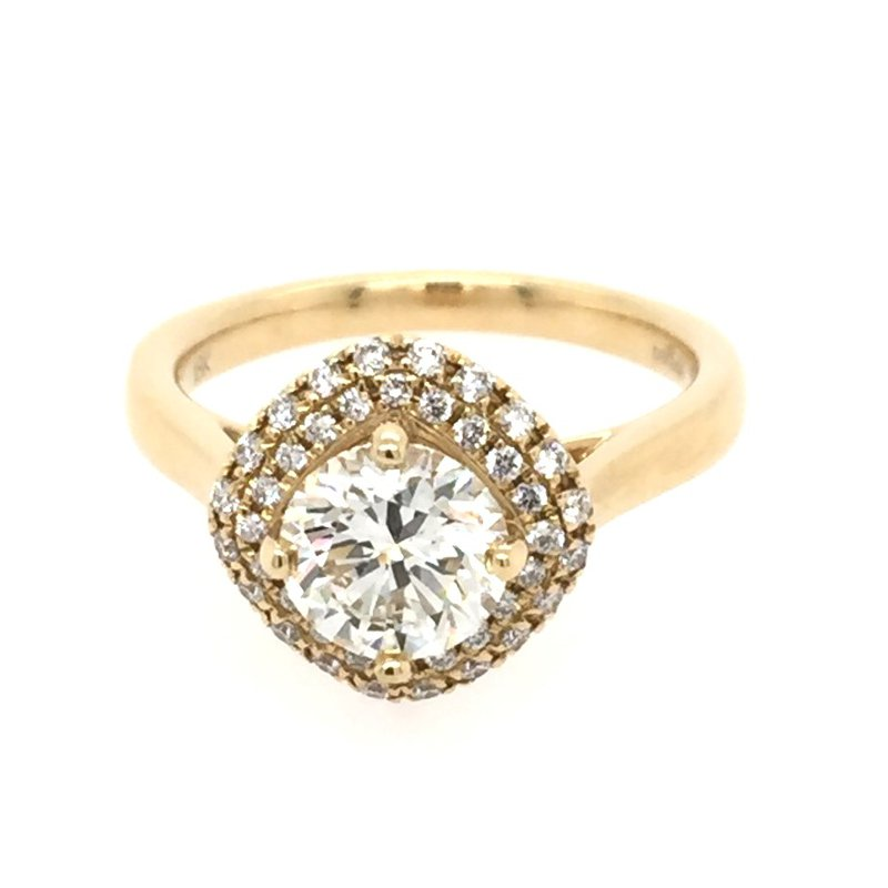 Lasker Bridal Double Halo Cushion Top Engagement Ring Mounting