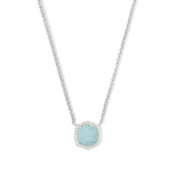 Davie Silver Pendant Necklace In Light Blue Magnesite