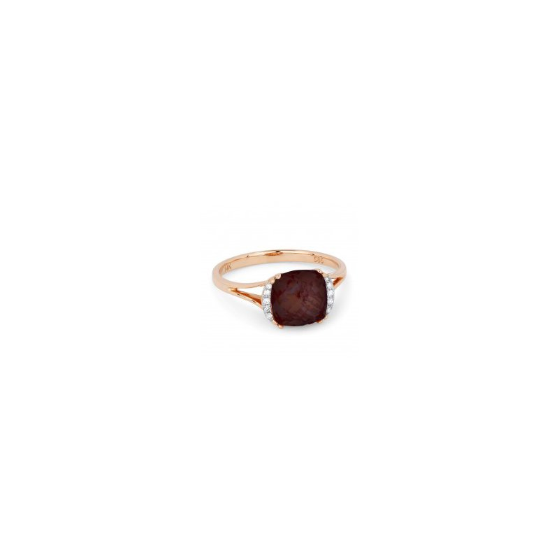 Lasker Gemstone Red Garnet Split Shank Ring