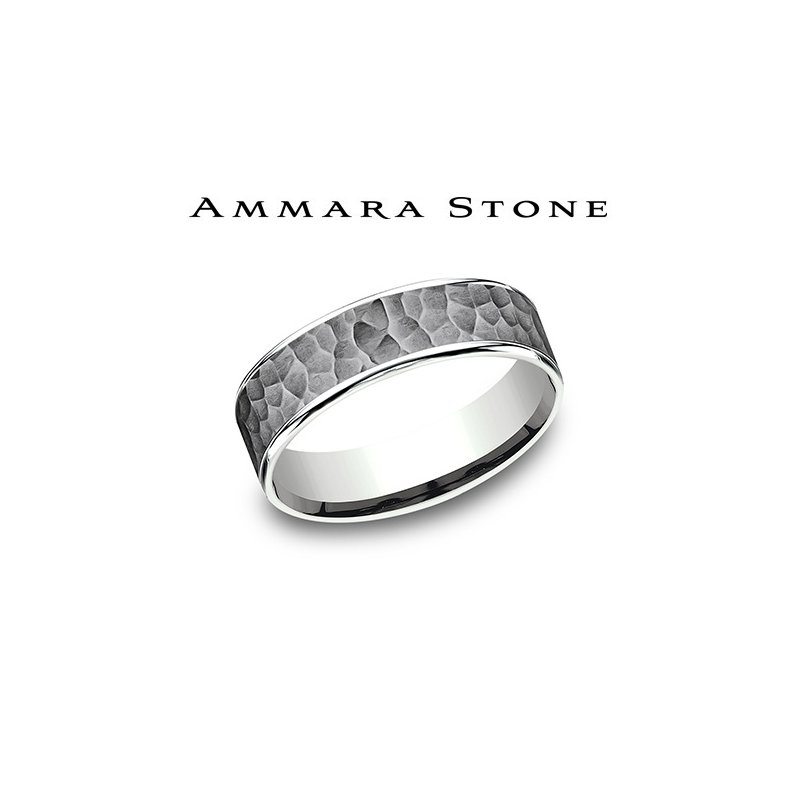 Lasker Men's Ammara Stone Band - Tantalum & 14kt White Gold