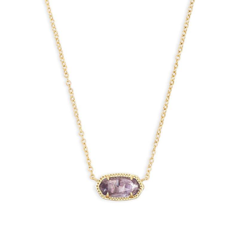 Kendra Scott Elisa Gold Pendant Necklace In Amethyst