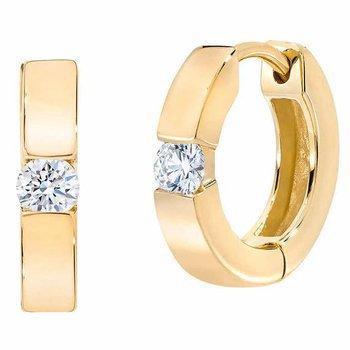 Diamond Solitaire Huggie Earrings
