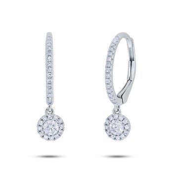 Diamond Drop Petite Halo Earrings