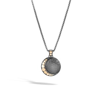 Moon Phase Hammered Pendant with Black Rhodium