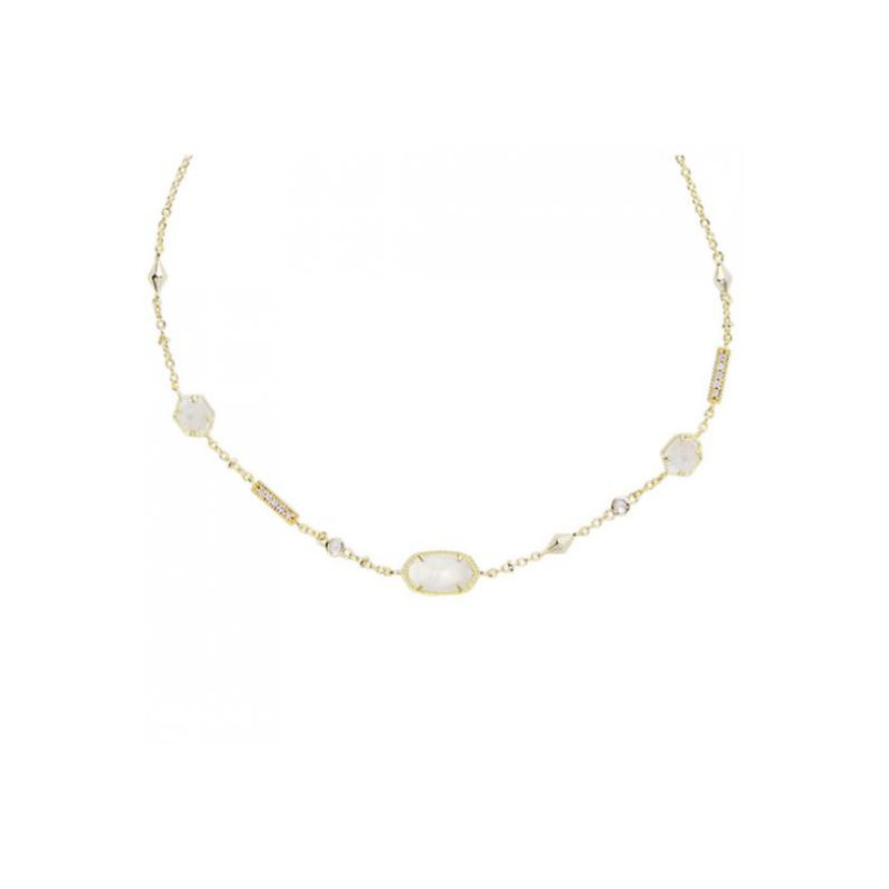 Kendra Scott Maddie Gold Necklace In Ivory Mother-Of-Pearl