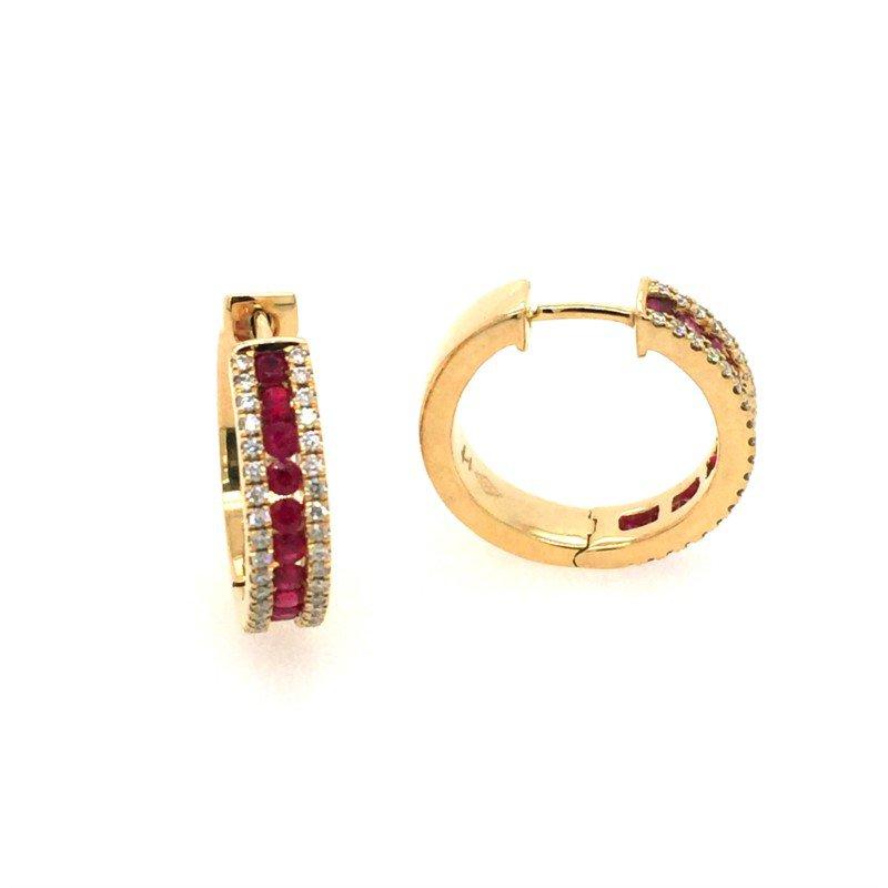 Lasker Gemstone Ruby Huggie Earrings