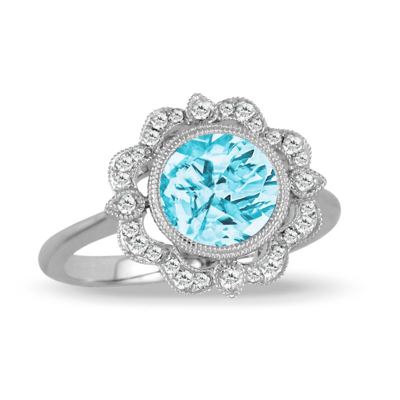 Lasker Gemstone Blue Topaz Ring with Diamonds