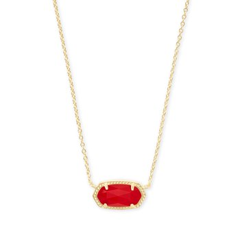 Elisa Necklace Gold Bright Red Glass