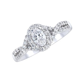 Oval Halo Ring With Crossover Shank