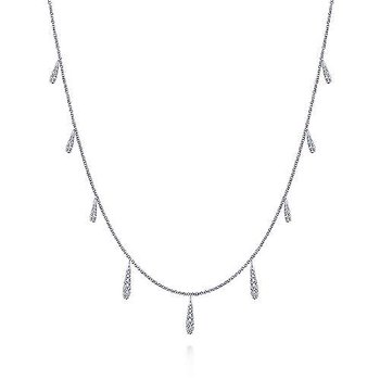 14K White Gold Dangling Diamond Station Necklace