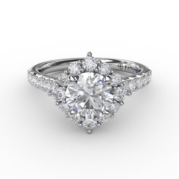 Vintage Style Halo Engagement Ring Mounting