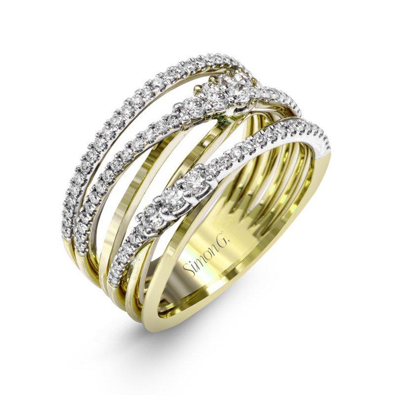 Simon G Criss-Crossing Diamond Ring