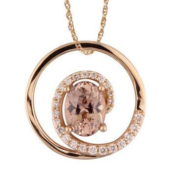 Lotus Garnet and Diamond Swirl Pendant