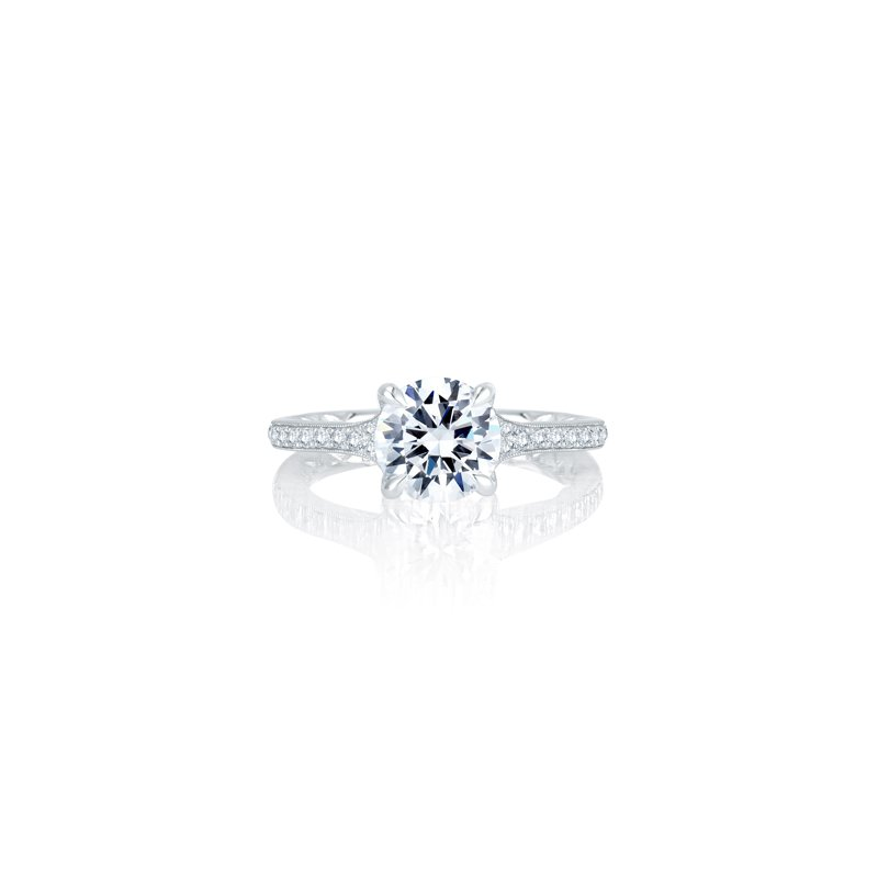Lasker Bridal Classic Pave Engagement Ring Mounting for Round Center