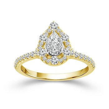 Tear Drop Halo Cluster Ring