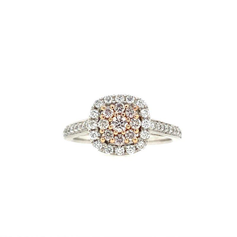Lasker Diamond Fashion Pink and White Diamond Cluster Ring