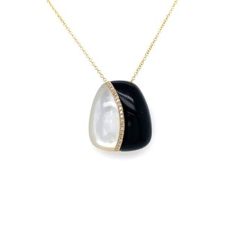 BLACK ONYX AND MOTHER OF PEARL PENDANT