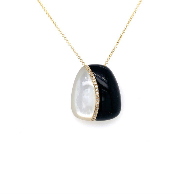 Lasker Gemstone BLACK ONYX AND MOTHER OF PEARL PENDANT