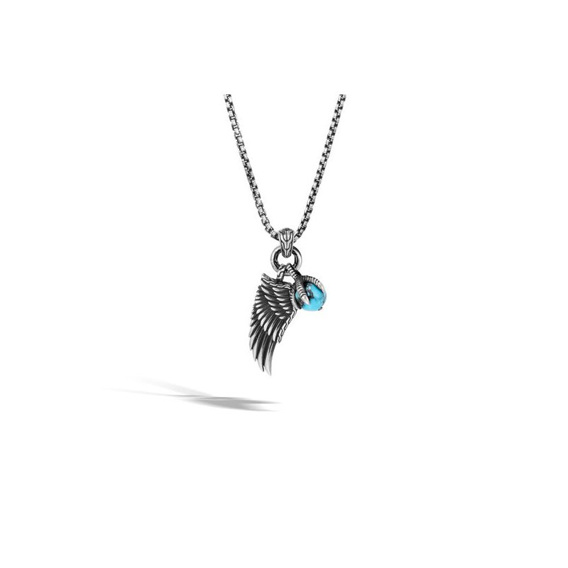 JOHN HARDY Eagle Wing Charm Necklace with Turquoise