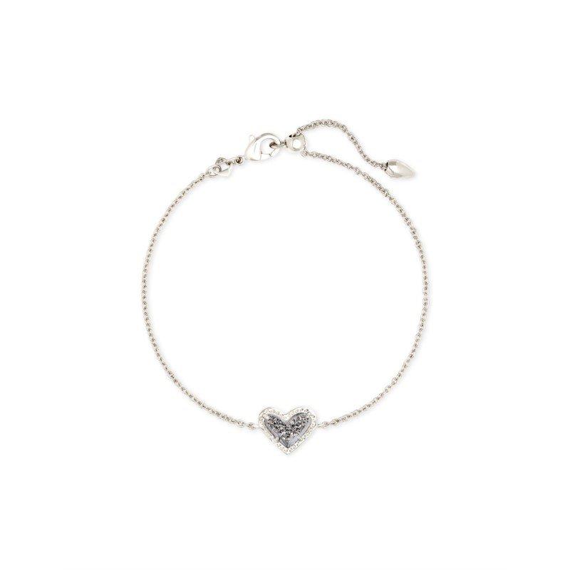 Kendra Scott Ari Heart Silver Chain Bracelet In Platinum Drusy