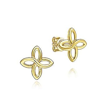 14K Yellow Gold Quatrefoil Stud Earrings
