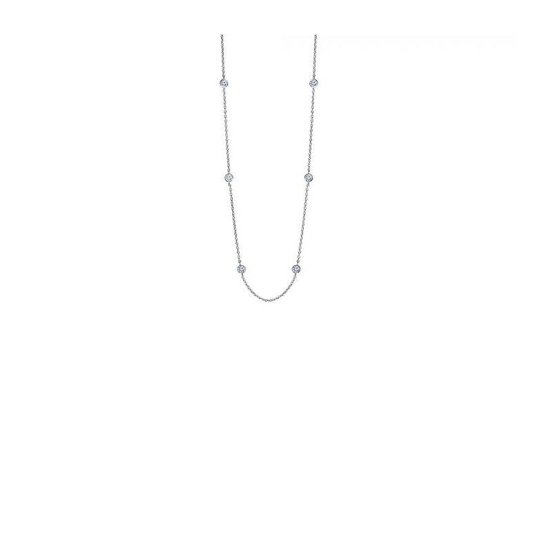 Lasker Signature Silver CZ Station Necklace