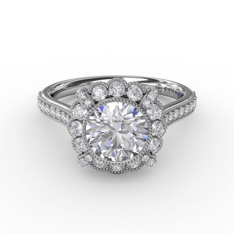 Fana Vintage Halo Miligrain Engagement Ring Mounting