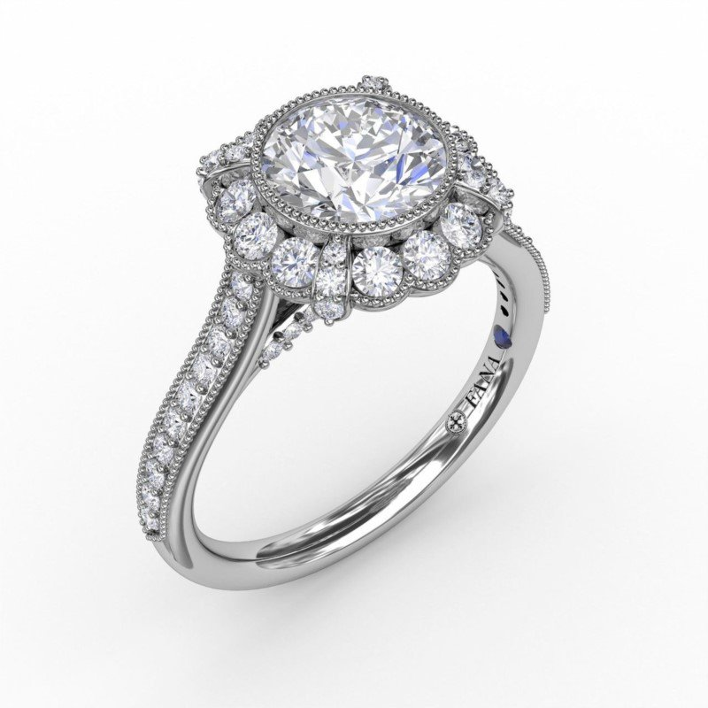 Fana Vintage Halo Miligrain Engagement Ring Mounting