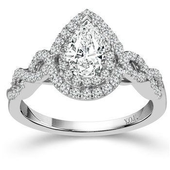 Double Halo Pear-Shape Ring