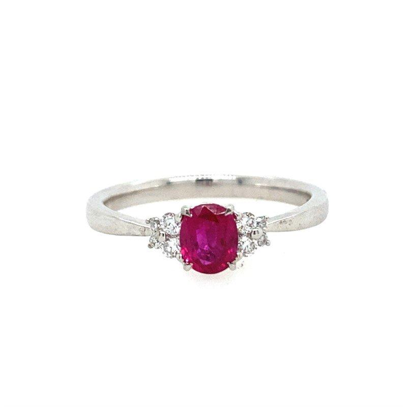 Lasker Gemstone Ruby and Diamond Ring