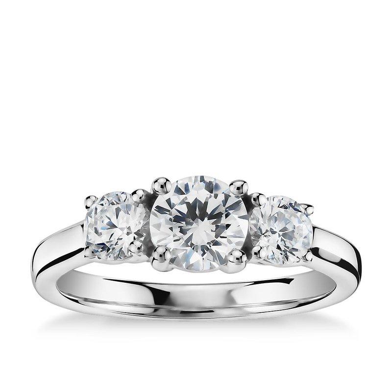 Lasker Bridal Past-Present-Ring Diamond Ring - 1ct Center Diamond