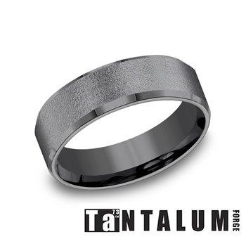 7MM Wire Brushed Dark Tantalum Ring