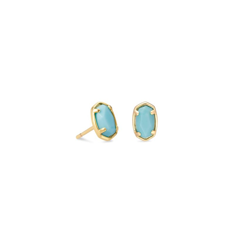 Kendra Scott Emilie Gold Stud Earrings In Light Blue Magnesite