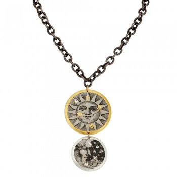 Sun and Moon Double Necklace on Gunmetal Chain